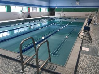 The refurbished pool has five lanes.
