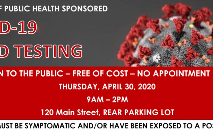 COVID Rapid Testing - April 30, 2020, 120 Main Street, Rear Parking lot