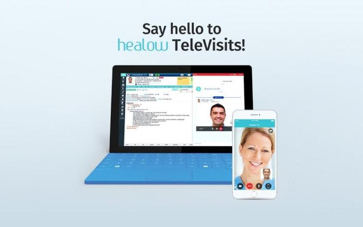 """An image of an Iphone and laptop stating """"Say Hello to TeleHealth"""""""